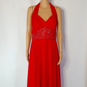 NWT Wow Halter Top with V-Neck Formal Gown in Red